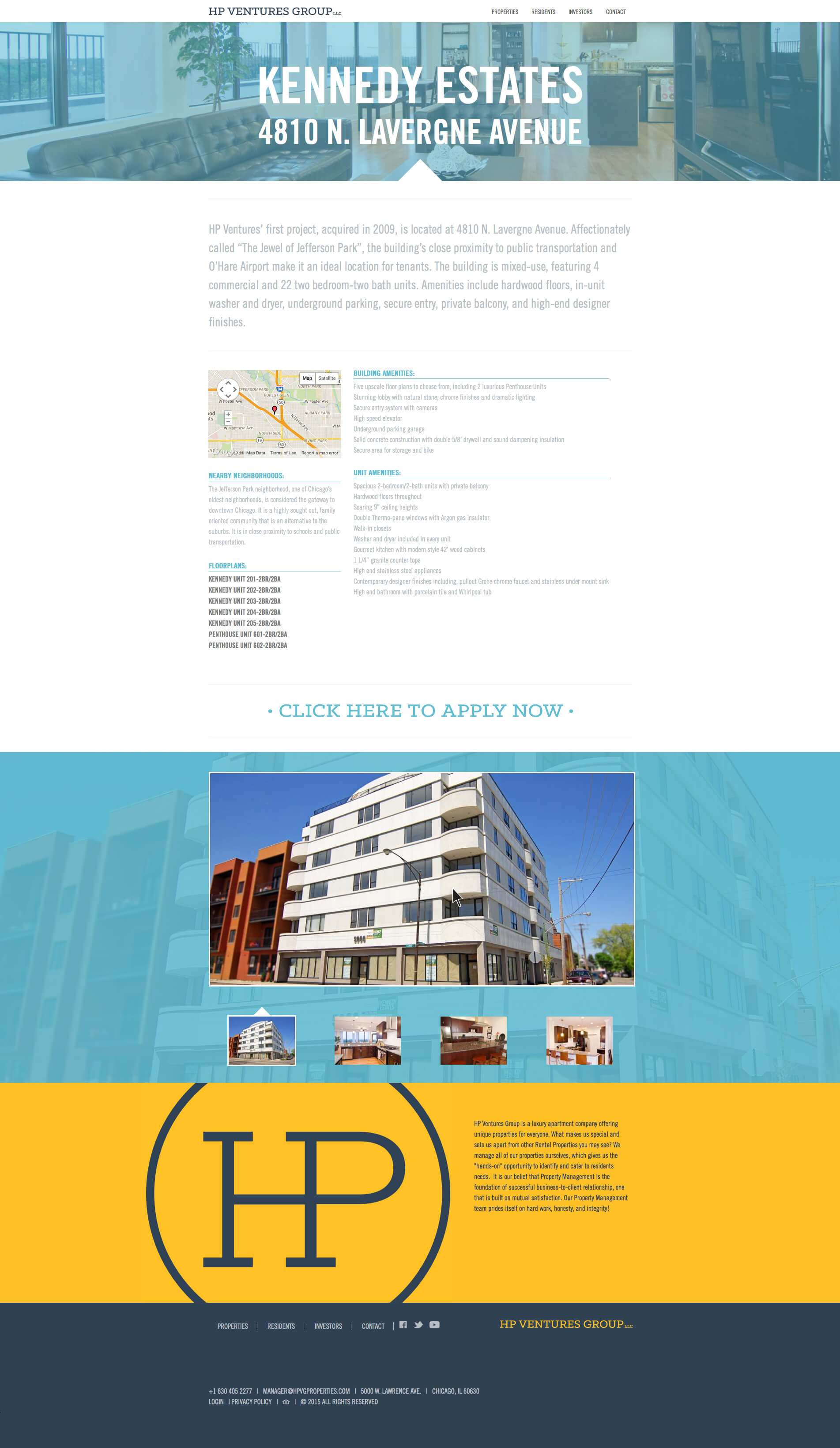 HP Ventures Group - Luxury Apartment Rentals - Chicago, Illinois - Website Design